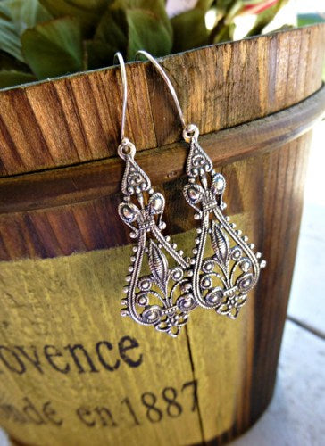 Silver Filigree Earrings. Everyday Wear. Sterling Silver jewelry. Long, victorian. -  - McKee Jewelry Designs - 1