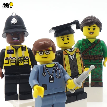 custom lego minifigures people jobs professions polive nurse graduate soldier