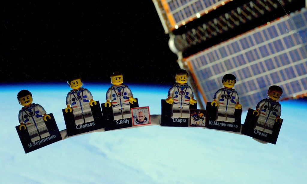 custom LEGO minifigures in space aboard the ISS