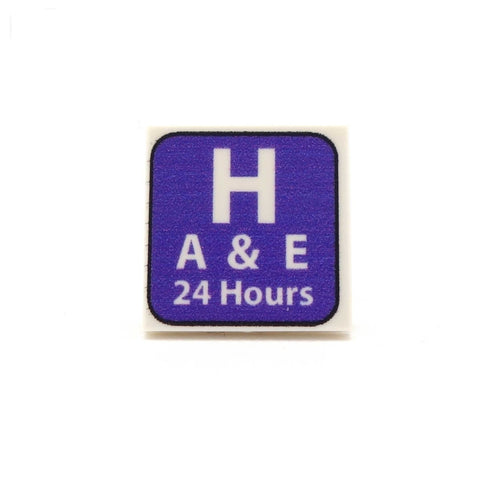 Hospital A&E Sign Custom Designed LEGO Tile