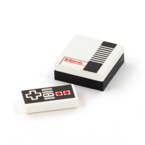 Retro nintendo console and NES - Custom LEGO tiles and parts
