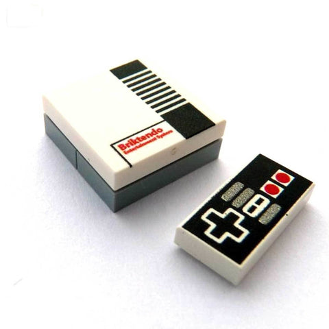 Retro Games Nintendo Console and Controller Custom Designed LEGO Tiles