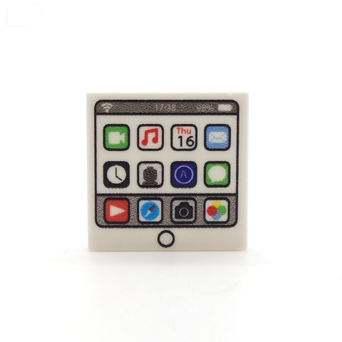 Tablet (White) Custom Designed LEGO Tile