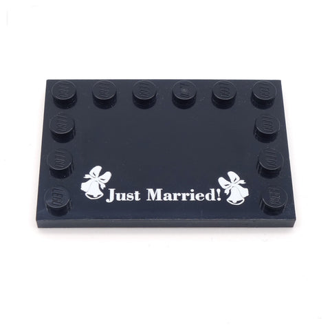 "Black ""Just Married"" Custom LEGO Couples Baseplate"
