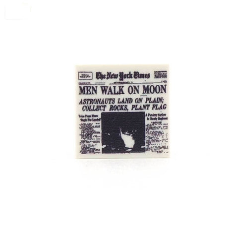 Moon Landing Newspaper Custom Printed LEGO Tile