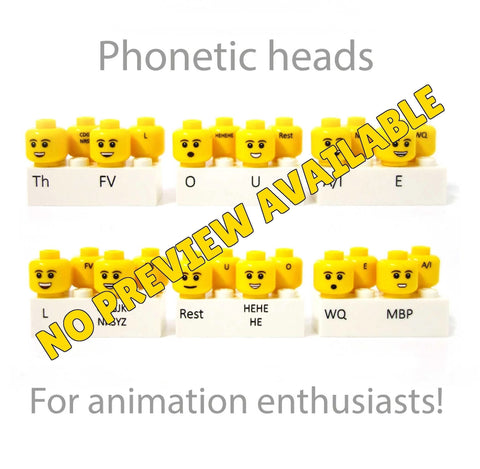 Phonetic Custom Printed Heads for Animation (Different Skin Tones Available)