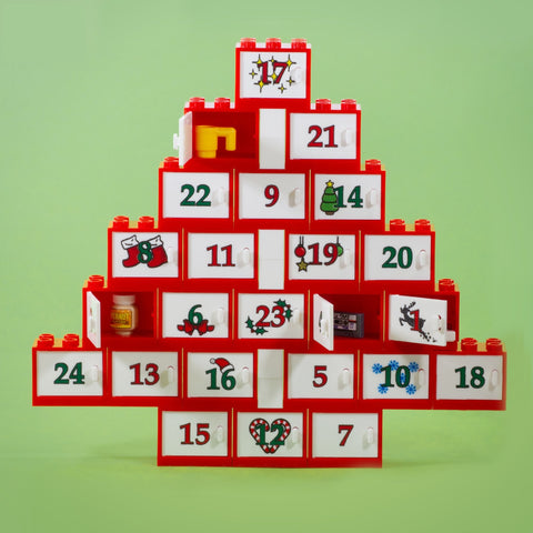 Re-useable Advent Calendar - 24 Custom Printed Doors and Compartments, custom printed onto genuine LEGO