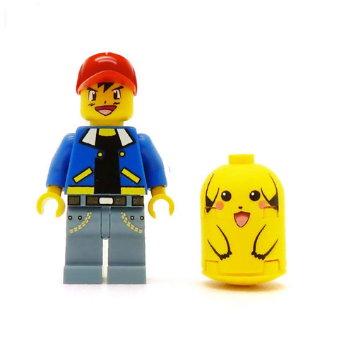 Ash and Pikachu, Catch 'Em Pokemon Mastery Set of Awesomeness - Custom LEGO Minifigure, Brickfigs and Tiles