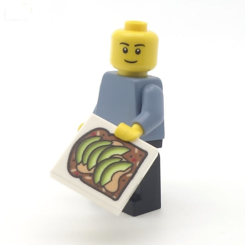 Minifig Holding Avocado on Toast