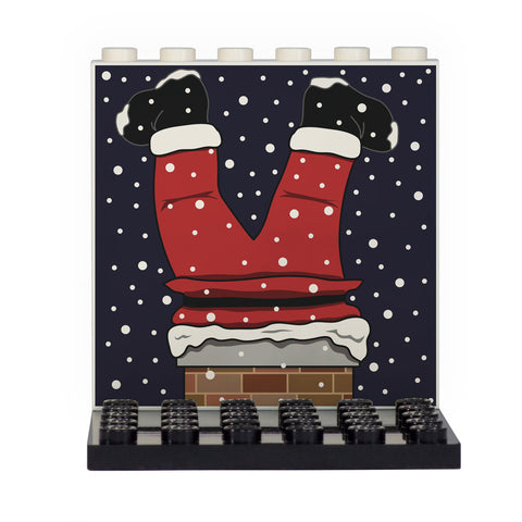 Santa Got Stuck in the Chimney Christmas Back Panel- Custom Design Display Panel and Stand
