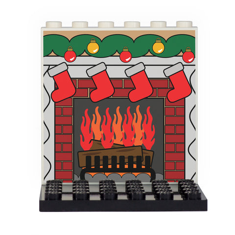 Christmas Fireplace Back Panel- Custom Design Display Panel and Stand