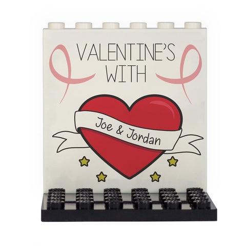 Your Names Personalised Valentine's Day Back Panel- Custom Design Display Panel and Stand