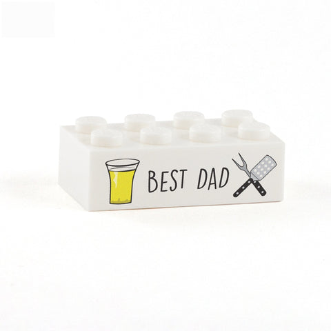 Best Dad Display Brick - Custom Printed 2x4 LEGO Brick, Minifigure Display