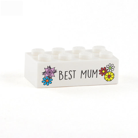 Best Mum Display Brick - Custom Printed 2x4 LEGO Brick, Minifigure Stand