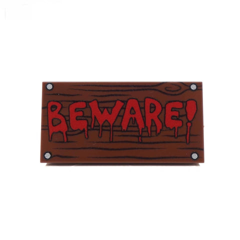 Beware ! Sign - Custom Printed LEGO Tiles and LEGO Accessories