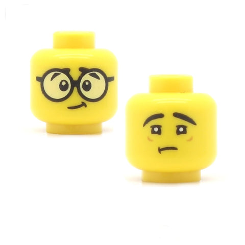 Big Round Glasses / Sad Face with No Glasses (Double Sided) (Yellow Skin Tone) - LEGO Minifigure Head