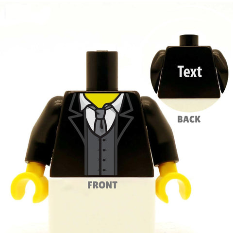 Suit (Various Colours), Waistcoat and Loose Tie - Custom Designed Minifigure LEGO Torso, groom, best man, ushers, wedding