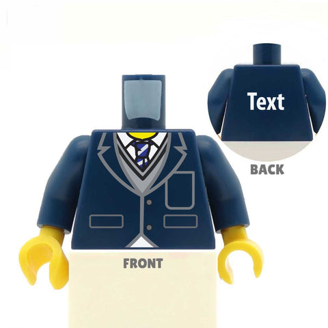 Blazer (Various Colours), Jumper and Striped Tie  - Custom Designed LEGO Minifigure Torso, school uniform