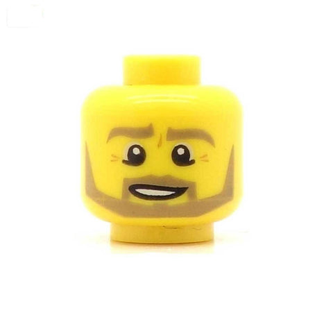 Grey / Dark Blonde Beard with Open Smile LEGO Minifigure Head