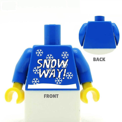 Blue 'Snow Way' Christmas Jumper - Custom Design Minifigure Torso