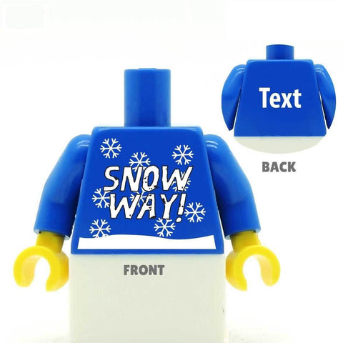 Custom LEGO Minifig Minifigure Personalised Torso Snow Christmas