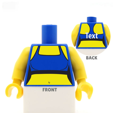 custom printed lego minifigure torso, racer back sports bra