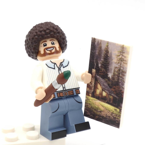 custom lego bob ross minifigure