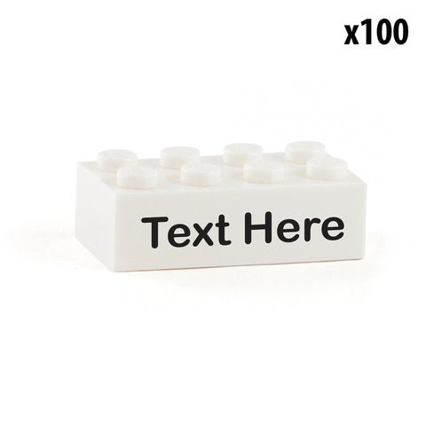 100 Identical Custom Printed 2x4 LEGO Bricks with Your Message or a Name
