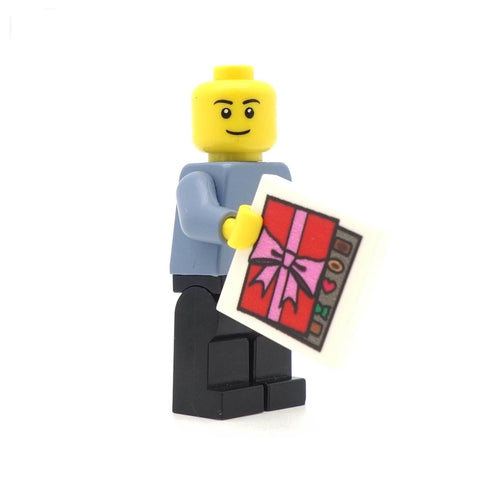LEGO Minifigure Holding Chocolate Box Tile