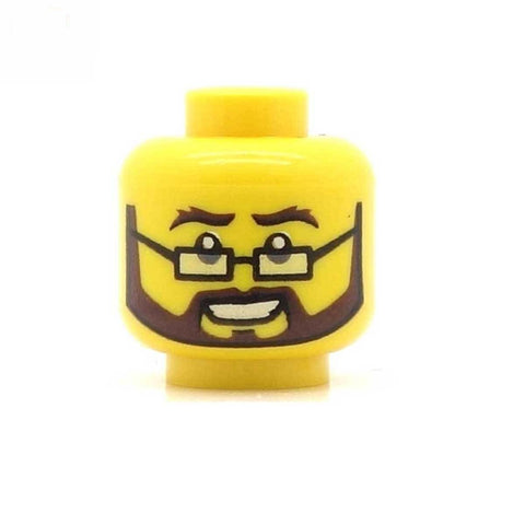 Square Glasses and Brown Beard LEGO Minifigure Head