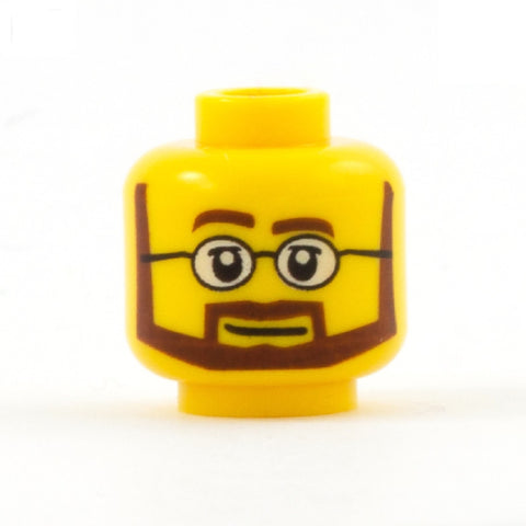 Brown Beard with Round Glasses (Yellow Skin Tone) - Custom Printed Minifigure Head