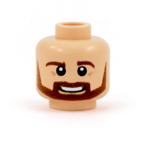Brown Beard with Open Smile (Light Skin Tone) - Custom Printed Minifigure Head
