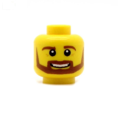 Brown Beard with Open Smile Custom Printed Minifigure Head
