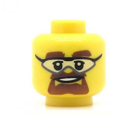 Brown Beard, Glasses or Safety Goggles LEGO Minifigure Head