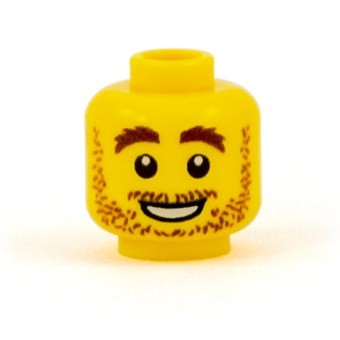 Shaggy Stubble and Bushy Eyebrows - Custom Printed Minifigure Head