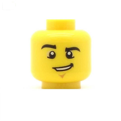 Cheeky Grin, Raised Eyebrow LEGO Minifigure Head