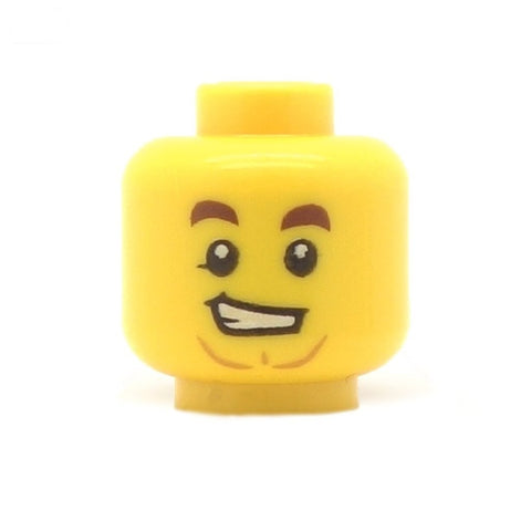 Cheeky Smile with Chin Dimple (Yellow Skin Tone) - LEGO Minifigure Head