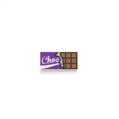 LEGO food, chocolate bar, minifigure accessory, custom printed LEGO tile