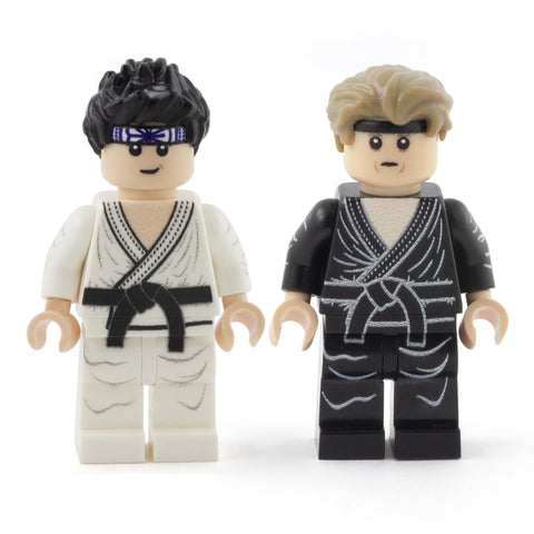 Daniel LaRusso and Johnny Lawrence, the Karate Kid, Cobra Kai - Custom Design LEGO Minifigures