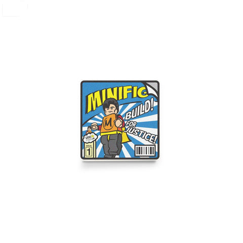 LEGO comic book, superhero, minifigure accessory, custom printed LEGO tile