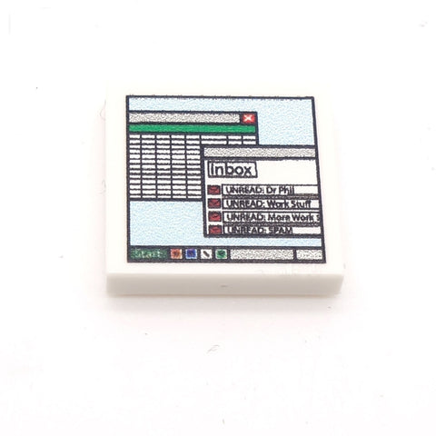 Computer Screen with Emails Custom Designed LEGO Tile