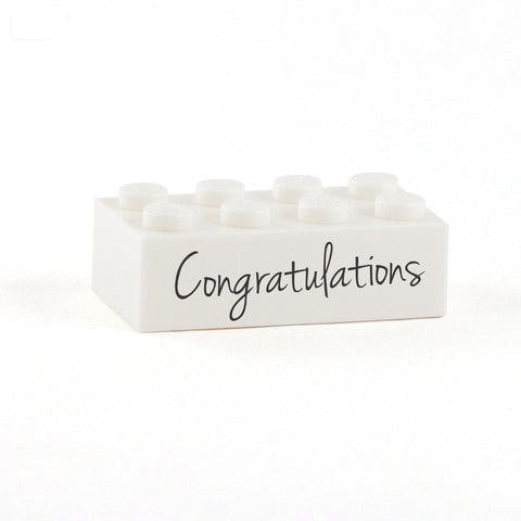 Congratulations Display Brick - Custom Printed 2x4 LEGO Brick, Minifigure Display