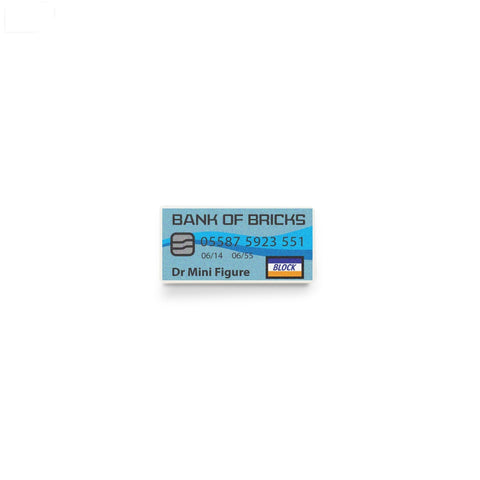 LEGO credit card, minifigure accessory, custom printed LEGO tile