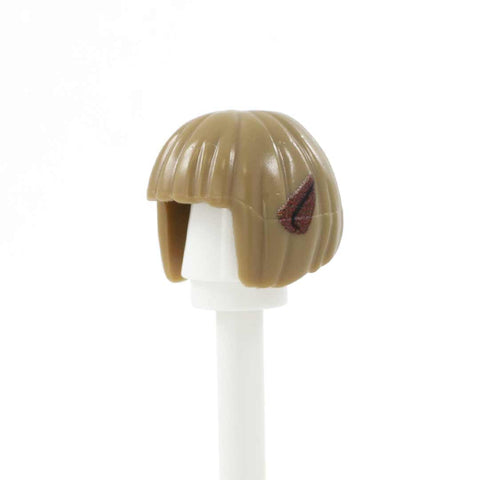 Dark Blonde Neat Bob with Custom Printed Elf Ears (Various Skin Tones Available for Ear Colour) - Custom Printed Minifigure Hair