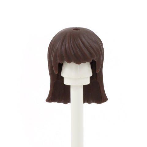 Dark Brown Long Hair with Long Blunt Fringe - LEGO Minifigure Hair
