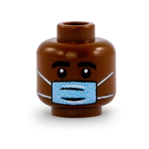 Male or Unisex Face with Medical Mask (Dark Skin Tone) - Custom Minifigure Head