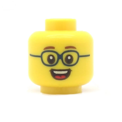Big Dark Blue Glasses (Yellow Skin Tone) - LEGO Minifigure Head