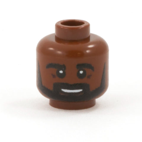 Black Beard with Open Smile (Dark Flesh Skin Tone) - Custom Printed LEGO Minifigure Head