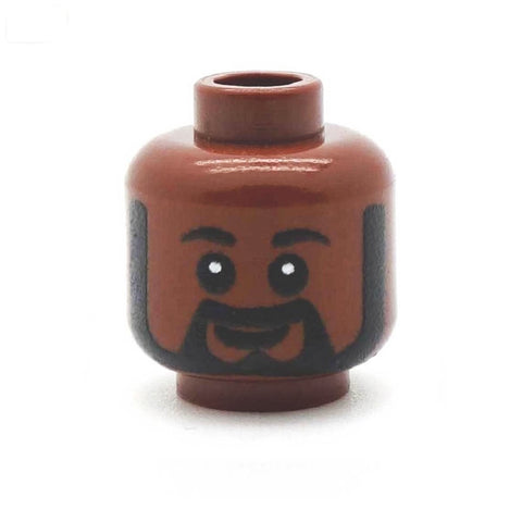 Black Beard with Sideburns (Brown) - Custom Printed LEGO Minifigure Head