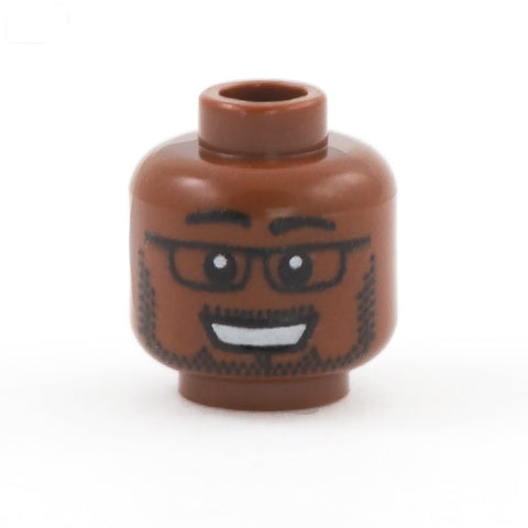 Large Smile, Beard and Glasses (Dark Flesh Skin Tone) - Custom Printed LEGO Minifigure Head